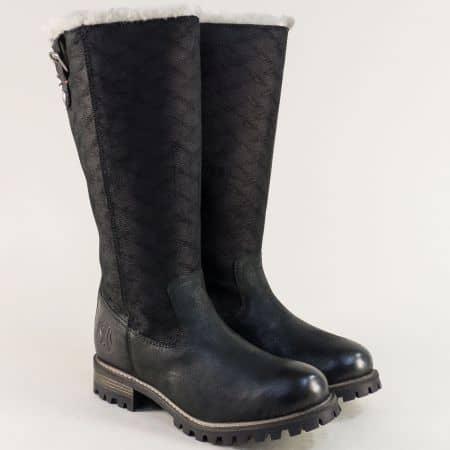 Черни дамски ботуши на нисък ток с грайфер- S. Oliver 526613ch