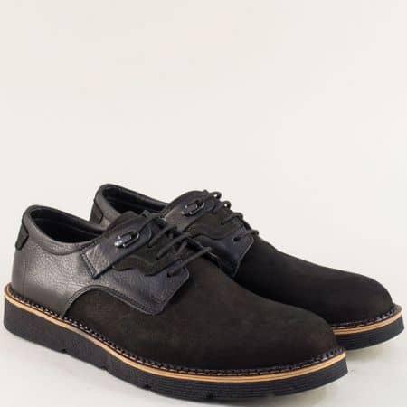Черни мъжки обувки с връзки и стелка от естествена кожа 526nch