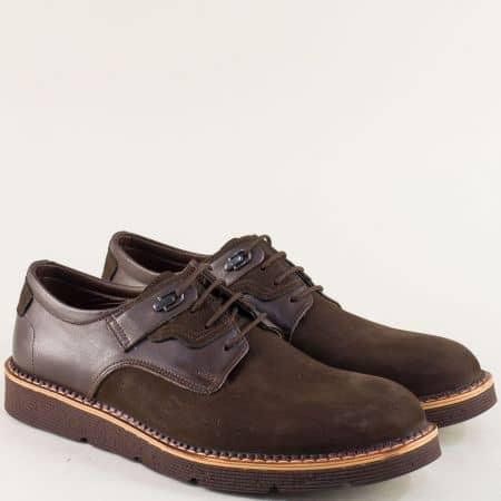 Тъмно кафяви мъжки обувки от естествен набук и кожа 526nkk