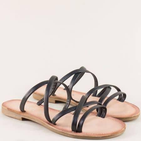 Равни дамски чехли от естествена кожа в черен цвят 527105ch