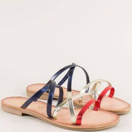 Дамски чехли от естествена кожа в синьо, червено и злато 527105ps