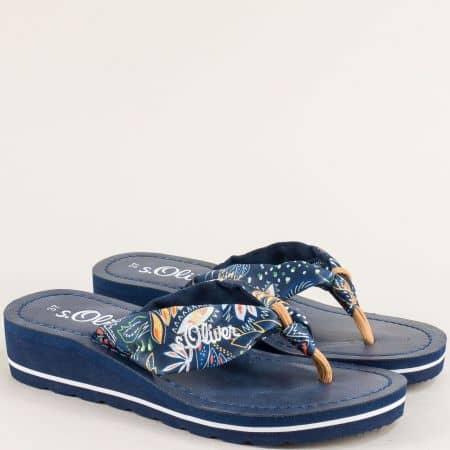 Дамски чехли на платформа в син цвят- S. Oliver  527125s