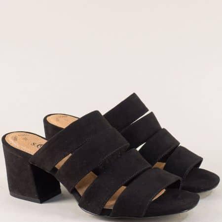 Дамски чехли на среден ток в черен цвят- S. Oliver  527206vch
