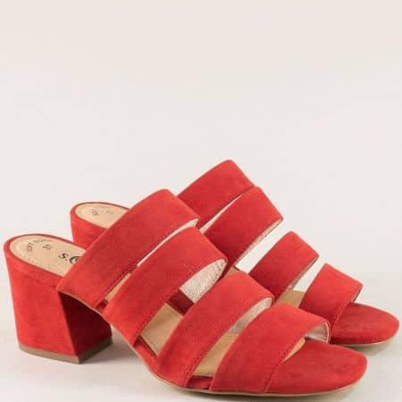 Немски дамски чехли на среден ток в червен цвят 527206vchv