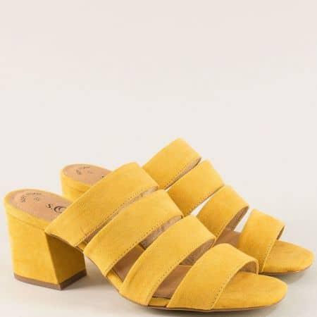 Жълти дамски чехли на среден ток с ластик- S. Oliver  527206vj