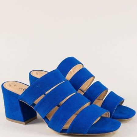 Дамски чехли на среден ток в син цвят- S. Oliver  527206vs