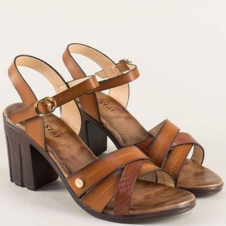 Кафяви дамски сандали на ток 528005kk
