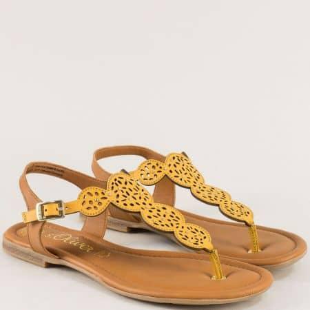 Жълти сандали на марка s.Oliver от естествена кожа 528102j
