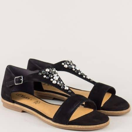 Равни дамски сандали от черен естествен велур- S.Oliver 528114vch