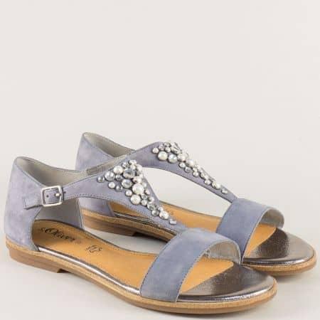 Сиви дамски сандали със затворена пета и декорация 528114vsv