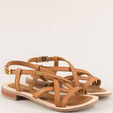 Немски дамски сандали от естествена кожа в кафяво 5528120k