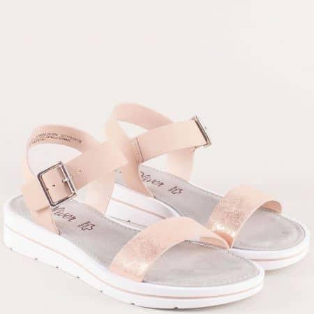 Дамски сандали в розов цвят от естествена кожа- S.Oliver  528200rz