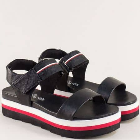 Дамски сандали в черно, червено и бяло на платформа 528204ch