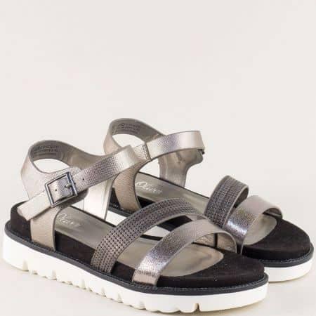 Бронзови дамски сандали на платформа- S.Oliver  528207brz