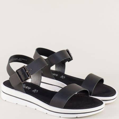 Черни дамски сандали от естествена кожа на S.Oliver 528200ch