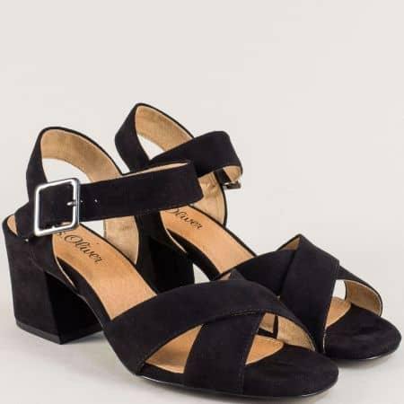 Черни дамски сандали на среден ток с Memory пяна 528310vch