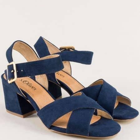 Сини дамски сандали на среден ток s.Oliver 528310vs