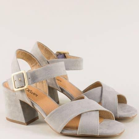 Сиви дамски сандали с Memory пяна на среден ток 528310vsv