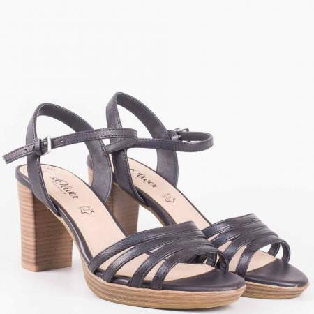 Немски сандали на висок ток от естествена кожа в черен цвят- S. Oliver 528312ch