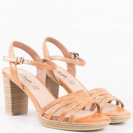 Дамски сандали на висок ток изработени от висококачествена естествена кожа на немския производител S.Oliver в кафяв цвят 528312k