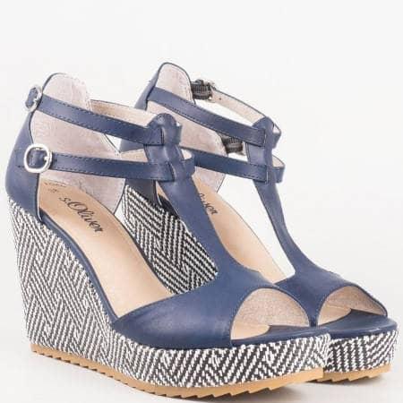 Немски дамски сандали на клин ходило в син цвят- S. Oliver 528324s