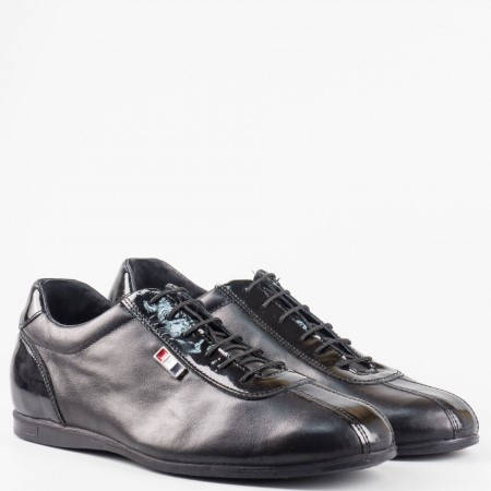 Черни мъжки обувки от естествен лак и естествена кожа 52901305ch
