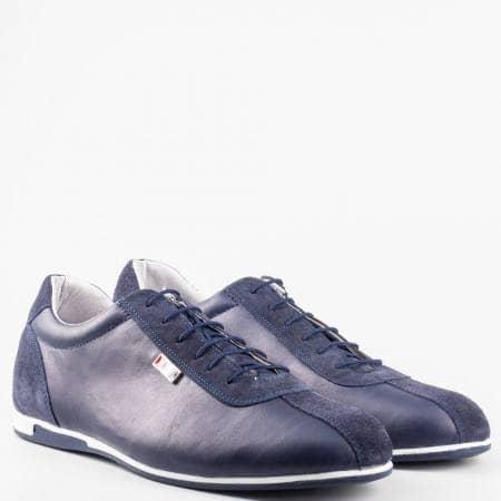 Сини мъжки обувки от естествен велур и естествена кожа 52901305s