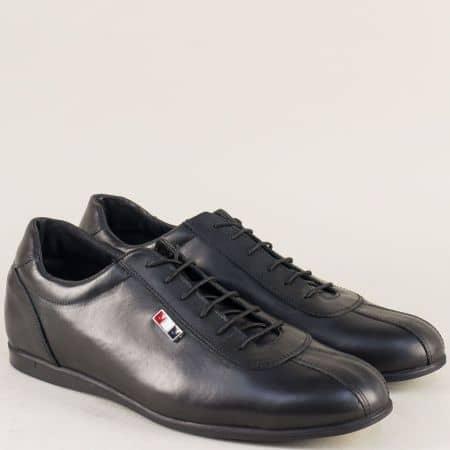 Мъжки обувки с връзки от естествена кожа в черен цвят 52901305chch