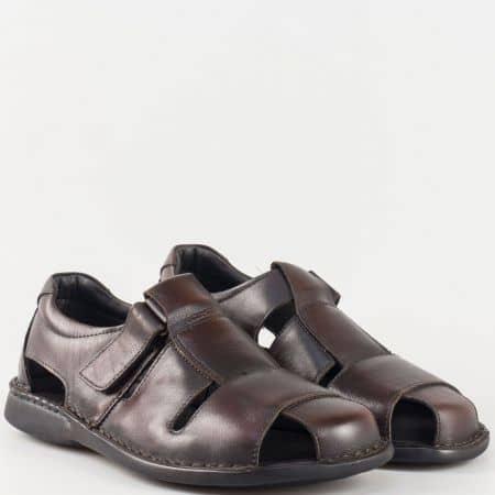 Български мъжки сандали с лепка в кафяв цвят Comyp Пещера изцяло от естествена кожа 5920kk