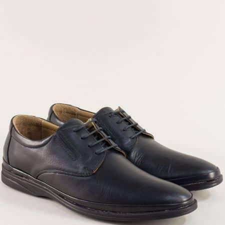 Кожени мъжки обувки в черен цвят с връзки 5294ch