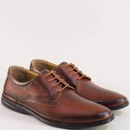 Кафяви мъжки обувки с връзки на анатомично ходило 5294k