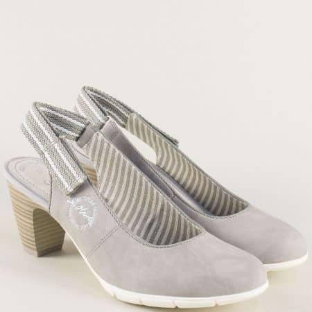 Дамски обувки в сив цвят с отворена пета на среден ток 529501sv