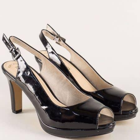 Черни дамски сандали на висок ток и платформа- S.Oliver  529602lch
