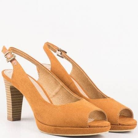 Елегантни дамски обувки на висок ток с отворени пръсти и пета в тъмно кафяво- S. Oliver 529603vkk