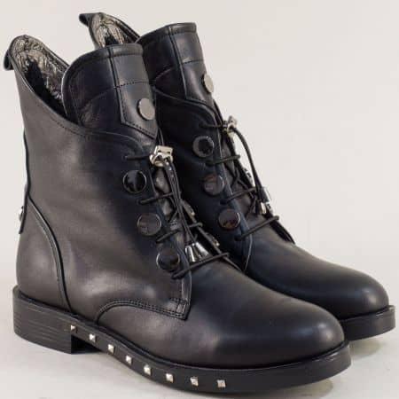 Дамски боти с ластични връзки и цип в черен цвят 5300ch