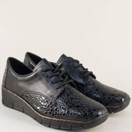 Черни дамски обувки с връзки и кожена Antistress стелка 53710krch