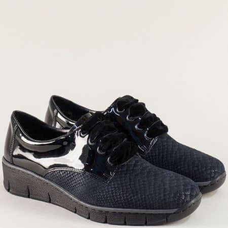 Сини дамски обувки от естествена кожа и лак на Rieker 53710slch