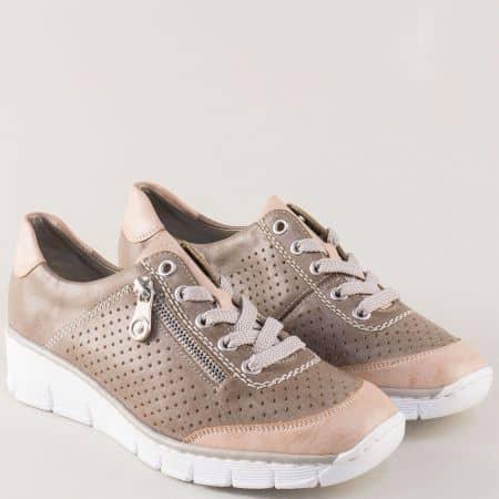 Спортни дамски обувки Rieker в сиво и розово на платформа 53725sv