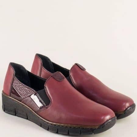 Дамски обувки Rieker от естествена кожа в цвят бордо 53754bd