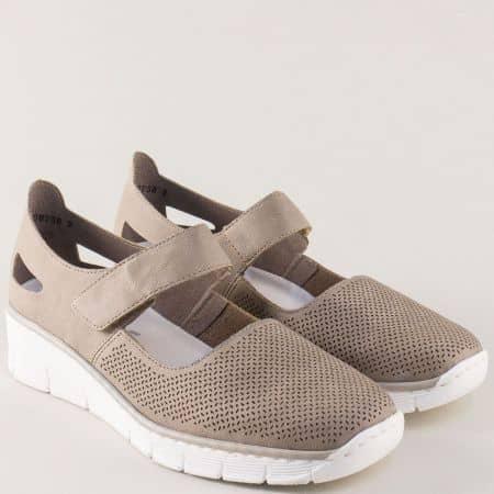 Сиви дамски обувки на платформа с лепка и перфорация 53767sv