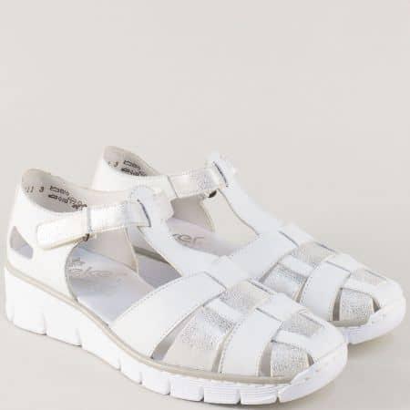 Бели дамски сандали на платформа с кожена стелка- Rieker 53769b