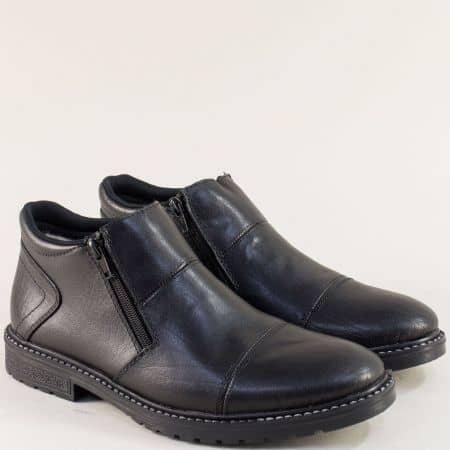 Черни мъжки боти от естествена кожа на марка RIEKER 5393ch