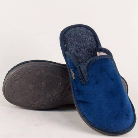Дамски пантофи на равно ходило в син цвят 539916s