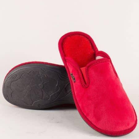 Домашни дамски чехли в червен цвят с ластик 539916chv
