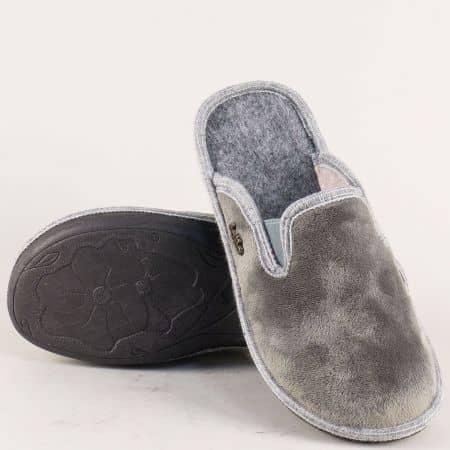 Домашни дамски чехли в сив цвят с два ластика 539916sv