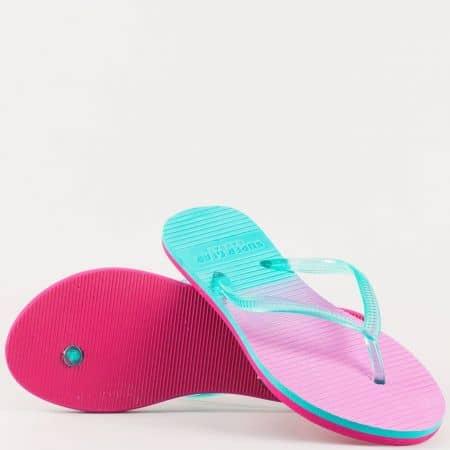 Дамски джапанки на удобно ходило с лента между пръстите в син и розов цвят 541rz