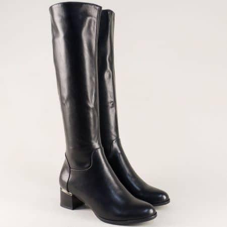 Дамски ботуши в черен цвят на среден ток- ELIZA 5445592ch