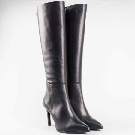 Дамски елегантен ботуш на висок ток от висококачествена естествена кожа на български производител 54461ch