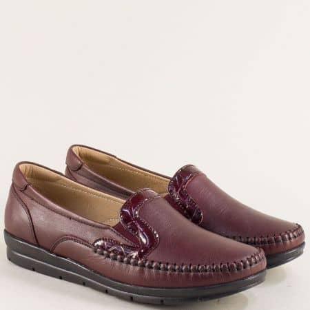 Кожени дамски обувки в цвят бордо с два ластика 548bd