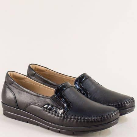 Черни дамски обувки от естествена кожа с два ластика 548ch